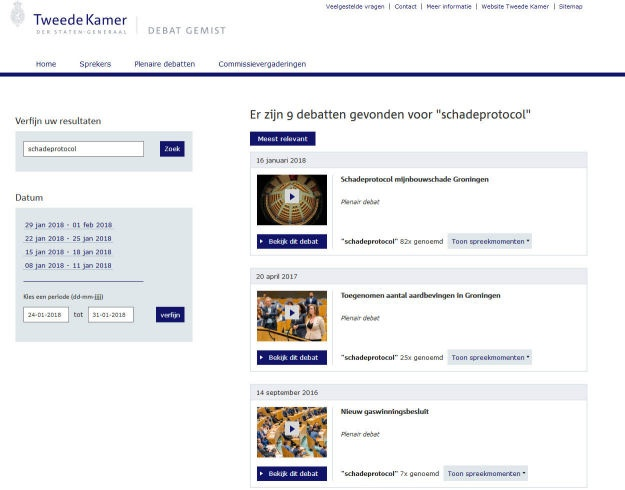 Screenshot van de website Debat Gemist
